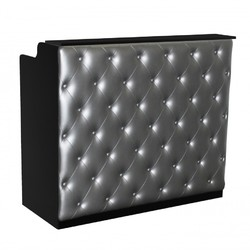 "The Elizabeth Reception Desk - 48"" Wide - Black Structure Silver Façade (SF1122BS)"