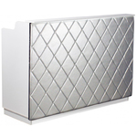 "The Le Beau Reception Desk - 60"" Wide - White Structure Silver Façade (SF1121W-P02S)"