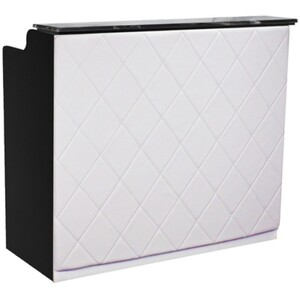 "The Le Beau Reception Desk - 48"" Wide - Black Structure White Façade (SF1122B-P02W)"