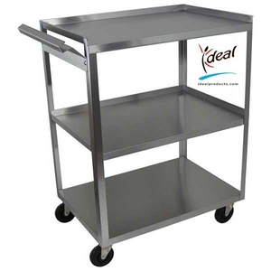 "3 Shelf Stainless Steel Utility Cart With Handle 24""x16""x30"" by Ideal Products (MC311)"