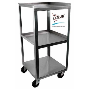 "3 Shelf Stainless Steel Utility Cart 14""x14""x30"" by Ideal Products (MC314)"