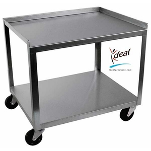"2 Shelf Stainless Steel Utility Cart 21""x16""x19"" by Ideal Products (MC221)"