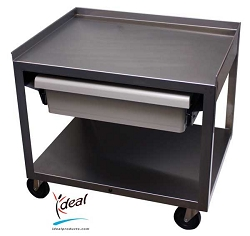 "2 Shelf Stainless Cart with Drawer 21""x16""x19"" by Ideal Products (MC221ED)"