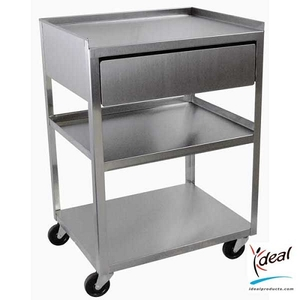 "3 Shelf Stainless Steel Cart with Drawer 21""x16""x30"" by Ideal Products (MC21D)"