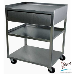 "3 Shelf Stainless Steel Cart with Drawer 24""x16""x32"" by Ideal Products (MC31D)"