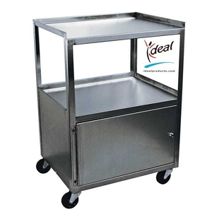 "3 Shelf Stainless Steel Cabinet Cart 21""x16""x30"" by Ideal Products (MCC321)"