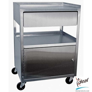 "3 Shelf Stainless Steel Cart with Drawer and Cabinet 21""x16""x30"" by Ideal Products (MCC21D)"