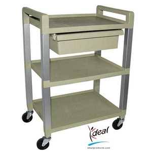 "3 Shelf Poly Cart with Drawer 21""x15""x30"" by Ideal Products (UC320D)"