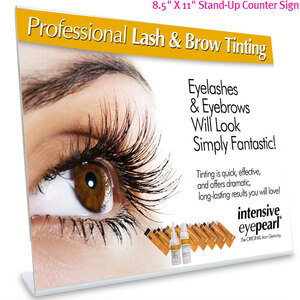 "8.5"" X 11"" Point-of-Purchase Stand-Up Counter Display for INTENSIVE LASH & BROW TINT - Original Orange Box EyePearl"