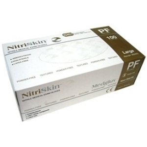 NitriSkin™ Nitrile Medical Exam Gloves, Powder-Free (White) / 100/box
