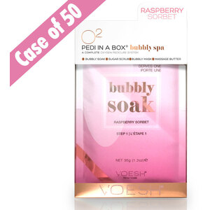 O2 Bubbly Spa - 4-Step Spa Pedi-in-a-Box - Raspberry Sorbet - A Complete Oxygen Pedicure System Case of 50 Sets (VPC307RBS X 50)