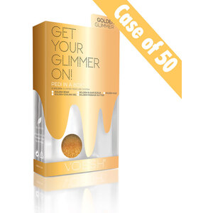 Voesh Glimmer Spa Pedicure in a Box - 5-Step Luxury Spa Pedi - Golden Glimmer Case of 50 Treatment Sets (VPC507GLD-CS)