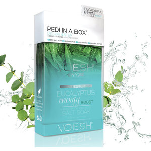 Voesh Deluxe Pedicure in a Box - 4-Step Hygienic Spa Pedicure Kit - Eucalyptus Energy 1 Treatment Set (VPC208EUC)
