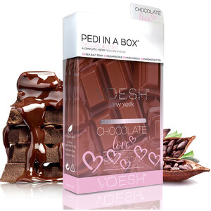 Voesh Deluxe Pedicure in a Box - 4-Step Hygienic Spa Pedicure Kit - Chocolate Love 1 Treatment Set (VPC208CHO)