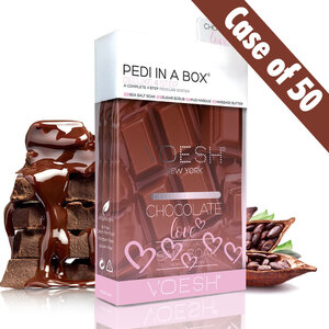 Voesh Deluxe Pedicure in a Box - 4-Step Hygienic Spa Pedicure Kit - Chocolate Love Case of 50 Treatment Sets (VPC208CHO-CS)