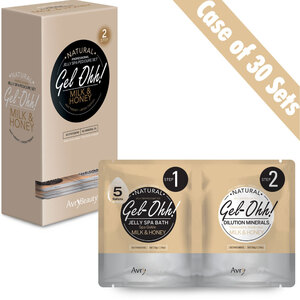 Gel-Ohh Jelly Spa Pedi Bath - Milk & Honey Case of 30 SETS - (30) Milk & Honey Jelly Spa Bath 50 Grams - 1.76 oz. + (30) Milk & Honey Dilution Mineral 50 Grams - 1.76 oz. (AJ001MLK-CS)
