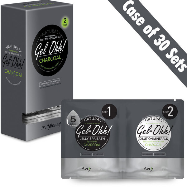 Gel-Ohh Jelly Spa Pedi Bath - Charcoal 30 SETS - (30) Charcoal Jelly Spa Bath 50 Grams - 1.76 oz. + (30) Charcoal Dilution Mineral 50 Grams - 1.76 oz. (AJ001CHL-CS)