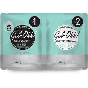 Gel-Ohh Jelly Spa Pedi Bath - Tea Tree & Peppermint 1 SET - (1) Tea Tree & Peppermint Jelly Spa Bath 50 Grams - 1.76 oz. + (1) Tea Tree & Peppermint Dilution Mineral 50 Grams - 1.76 oz. (AJ001TT