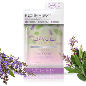 Voesh Ultimate Pedicure in a Box - 6-Step Hygienic Spa Pedicure Kit - SAGE FULLNESS - Supple & Soft With Sage Extract 1 Treatment Set (VPC607SGE)