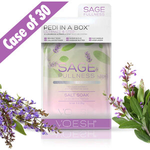 Voesh Ultimate Pedicure in a Box - 6-Step Hygienic Spa Pedicure Kit - SAGE FULLNESS - Supple & Soft With Sage Extract Case of 30 Treatment Sets (VPC607SGE-CS)