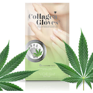 Collagen Gloves with CBD Hemp-Derived Cannabis Seed Oil and Eucalyptus Extract - Hand Mask Gloves with Pre-cut Fingertips for Easy Manicures! 1 Pair by Voesh of New York (VHM212HMP)