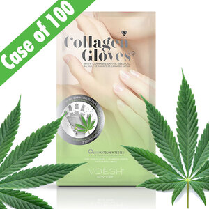 Collagen Gloves with CBD Hemp-Derived Cannabis Seed Oil and Eucalyptus Extract - Hand Mask Gloves with Pre-cut Fingertips for Easy Manicures! 100 Pair Case by Voesh of New York (VHM212HM-CS)