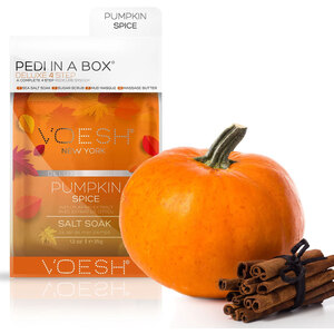 Voesh Deluxe Pedicure in a Box - 4-Step Hygienic Spa Pedicure Kit - PUMPKIN SPICE 1 Treatment Set (VPC208PKS)