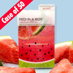 Voesh Deluxe Pedicure in a Box - 4-Step Hygienic Spa Pedicure Kit - Watermelon Burst Case of 50 Treatment Sets (VPC208WTR-CS)