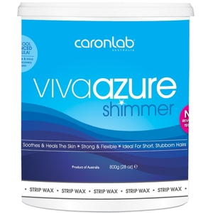 Caronlab Professional Elite Wax - Viva Azure Shimmer Strip Wax - Microwaveable 800 mL. - 28 oz. per Jar X 4 Jars = 3.2 Liters - 77.7 oz. (USCL-2WSVA8 X 4)