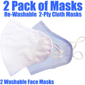 Cloth Ear Loop Face Masks - Rewashable 2 Ply 2 Masks per Pack ()