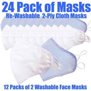 Cloth Ear Loop Face Masks - Rewashable 2 Ply 2 Masks per Pack X 12 Packs = 24 Masks ()