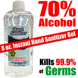 Instant Hand Sanitizing Gel | 70% Alcohol Kills 99.9% of Germs 8 oz. ()