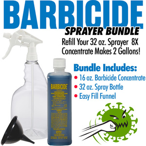 Barbicide - Virucide Surface Cleaner and Disinfectant Sprayer Bundle = 16 oz. of Barbicide Concentrate + 32 oz. Spray Bottle + Easy Fill Funnel - Refills Sprayer 8X - Makes 2 Gallons! ()
