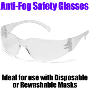 Anti-Fog Safety Glasses Clear Anti-Fog Lens + Clear Temples - Help Protect the Eyes from Fluids Debris Chemicals and Other Workplace Hazards ()