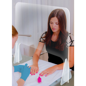 "Acrylic Sneeze Guard Shield with Base for Nail Salon Manicure Tables - Portable - Freestanding 24""W x 24""H"