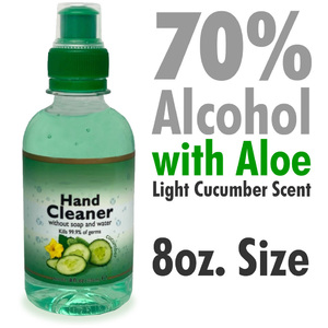 70% Ethyl Alcohol Hand Sanitizer with Aloe - Kills 99.99% of Germs - Light Cucumber Scent 8 oz.