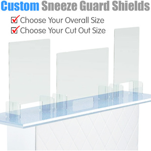 Custom Size Sneeze Guard Shield Counter Barriers - Choose Your Overall Size AND Choose Your Cut Out Opening Size ()