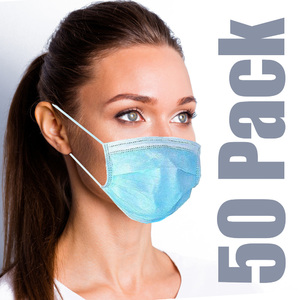 Disposable 3-Ply Antiviral Medical Ear Loop Face Masks 50 per Box