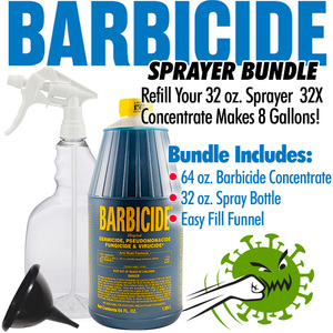 Barbicide - Virucide Surface Cleaner and Disinfectant Sprayer Bundle = 64 oz. of Barbicide Concentrate + 32 oz. Spray Bottle + Easy Fill Funnel - REFILLS THE 32 OZ. SPRAYER 32X - MAKES 8 GALLONS!