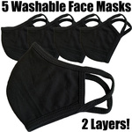 Soft and Stretchy Cloth Ear Loop Face Masks - 2 Ply Comfortable Antibacterial Knitted Fabric - Rewashable up to 31X / 5 Black Masks per Pack