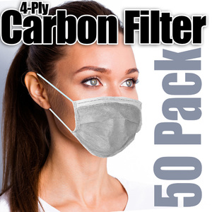 Disposable 4-Ply Carbon Filter Ear Loop Face Masks / 50 per Box