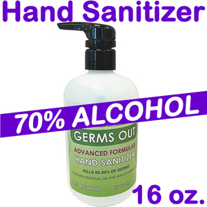70% Alcohol - Germs Out Advanced Formula Hand Sanitizer with Aloe - Kills 99.99% of Germs & Viruses / 16 oz.