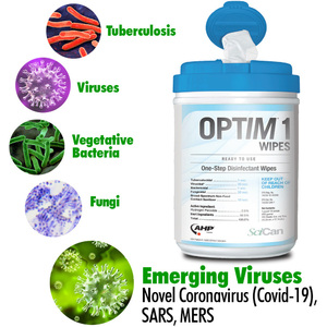 OPTIM 1 Wipes - 30-Second Coronavirus Hard Surface Cleaner and Disinfectant / Virucide + Bactericide + Fungicide + Tuberculocide + Broad Spectrum Sanitizing / EPA and Health Canada Registered / 160 Wipes per Container
