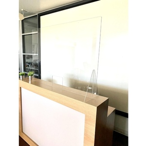 "Reception Desk Sneeze Guard Shield Counter Barrier - 45.25"" Wide X 31.5"" High with Small 7.75"" Wide X 6"" High Opening (HSRD2003)"