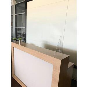 "Reception Desk Sneeze Guard Shield Counter Barrier - 45.25"" Wide X 31.5"" High with X-Large 38.25"" Wide X 6"" High Opening (HSRD2004)"