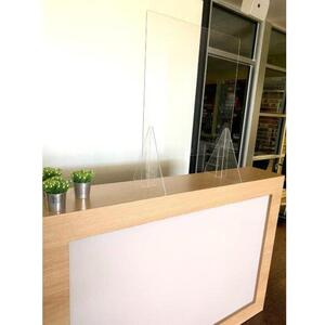 "Reception Desk Sneeze Guard Shield Counter Barrier - 23.5"" Wide x 31.5"" High with 16.5"" Wide X 6"" High Opening (HSRD2005)"