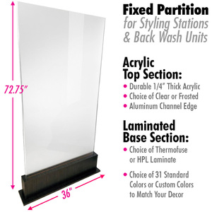 "Fixed Partition (No Wheels) for Styling Stations & Back Wash with Clear or Frosted Acrylic + Choice of Laminates for Base / 36"" Wide X 72.75"" High (6.1 Feet High) (HSRD2002-FX)"