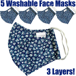 NanoSilver Face Masks - Washable Reusable 3-Ply Antibacterial Knitted Fabric - Rewashable up to 31X Pack of 5 Masks - Floral Pattern (21952-Floral)