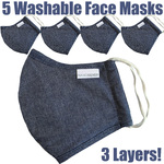 NanoSilver Face Masks - Washable Reusable 3-Ply Antibacterial Knitted Fabric - Rewashable up to 31X Pack of 5 Masks - Grey Blue (21952-Grey Blue)
