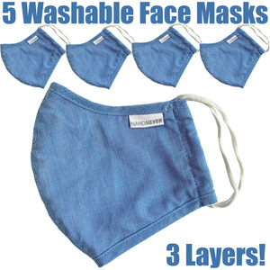 NanoSilver Face Masks - Washable Reusable 3-Ply Antibacterial Knitted Fabric - Rewashable up to 31X Pack of 5 Masks - Light Blue (21952-Light Blue)